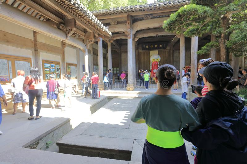 Tourists visit ancient dwelling of anhui style, adobe rgb stock photos