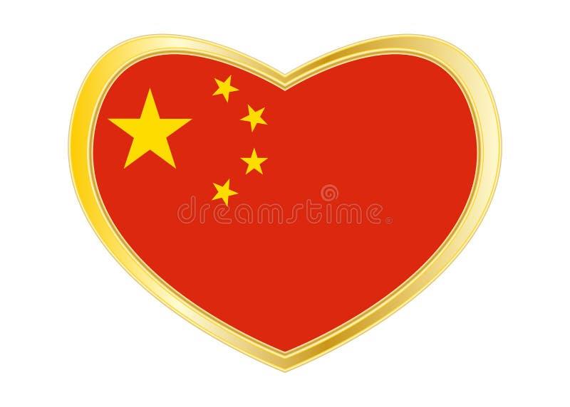 Flag of China in heart shape, golden frame vector illustration