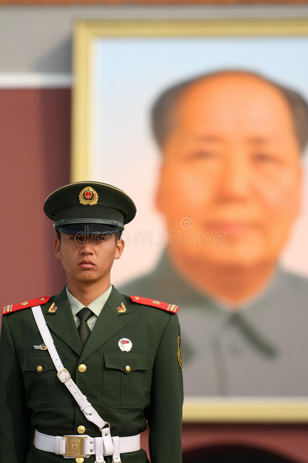 Chinese National Police in Full Uniform at Tiananm