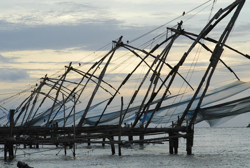 Chinese Netten, Fort Cochin royalty-vrije stock fotografie