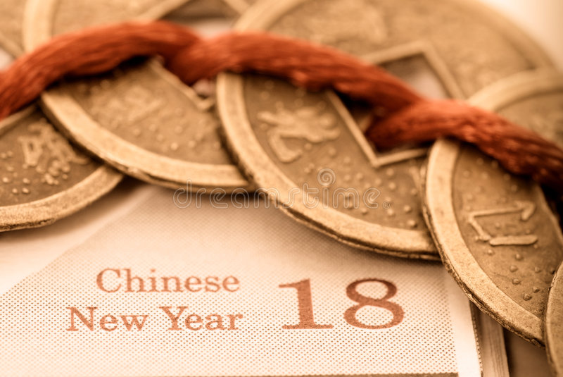 Chinese New Year. Lucky coins in celebration of Chinese New Year stock photos
