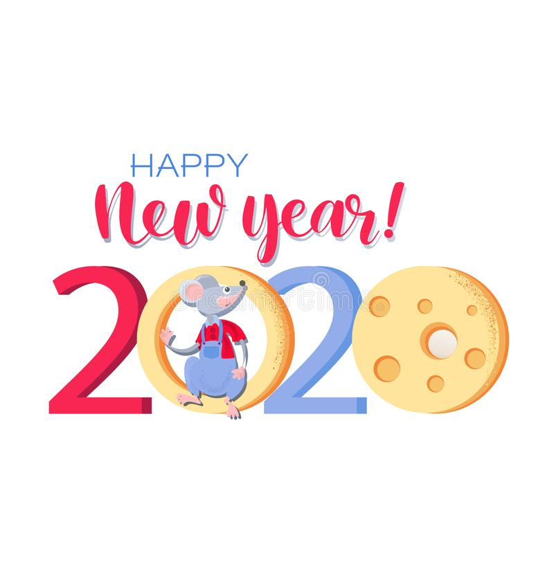 Free Chinese New Year 2020. Card With Cute Rat And Cheese. Stock Image - 154946591
