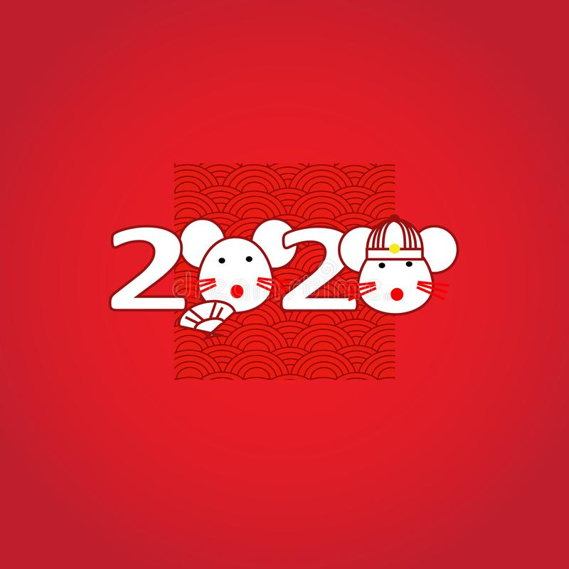 Chinese New Year 2020 as year of the rat. On red background stock images