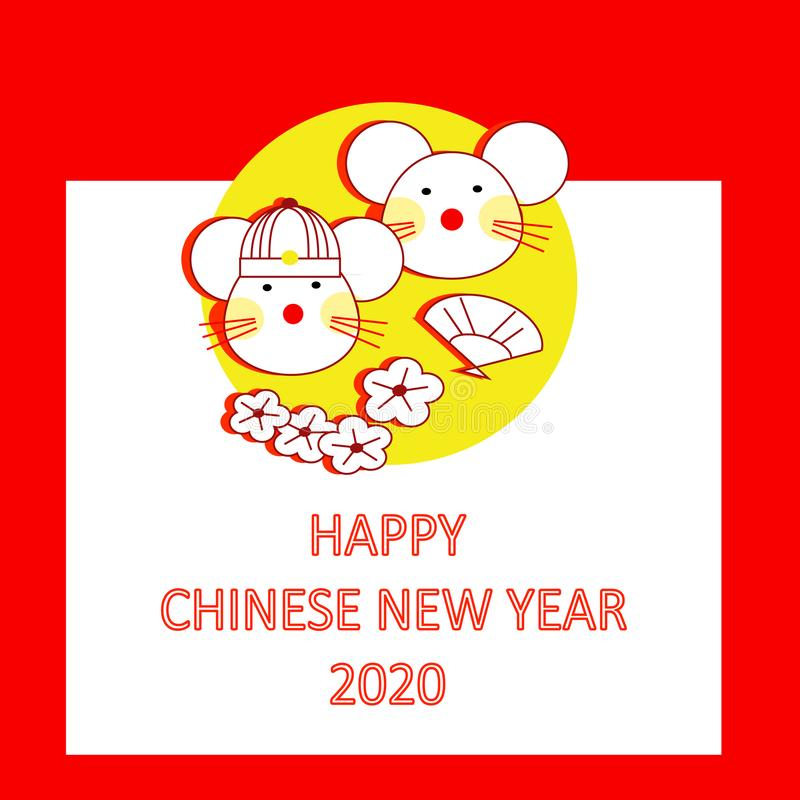 Chinese New Year 2020 as year of the rat. On red background royalty free stock images
