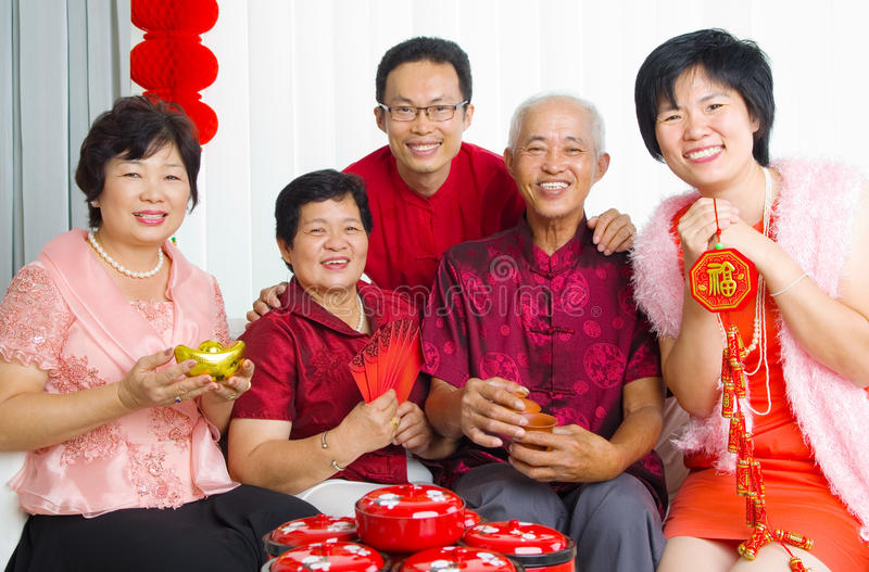 Chinese new year. Asian family celebrate chinese new year stock photos