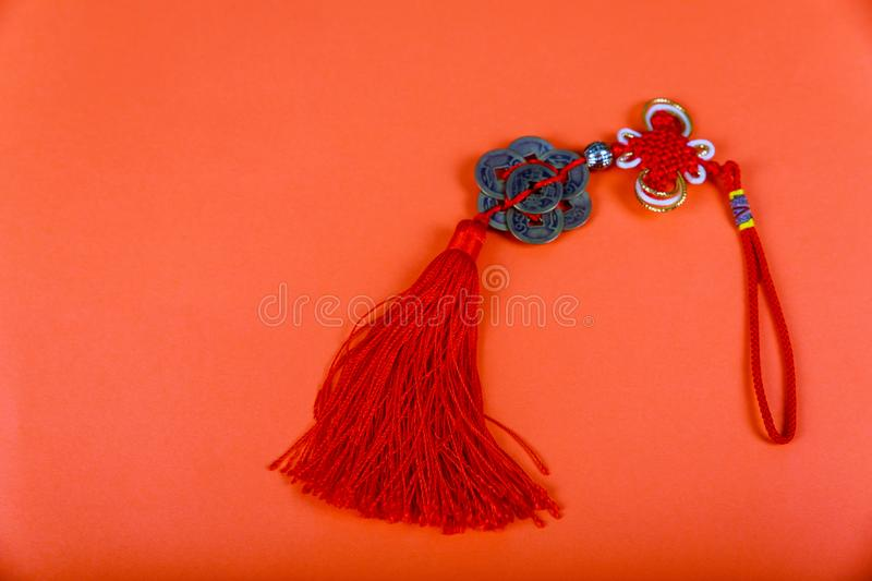 Chinese New Year background. Chinese good luck symbol on red stock photo