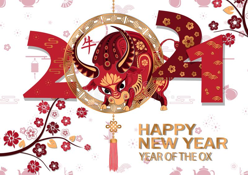 Chinese New Year 2021 Background. Chinese Translation Ox ...