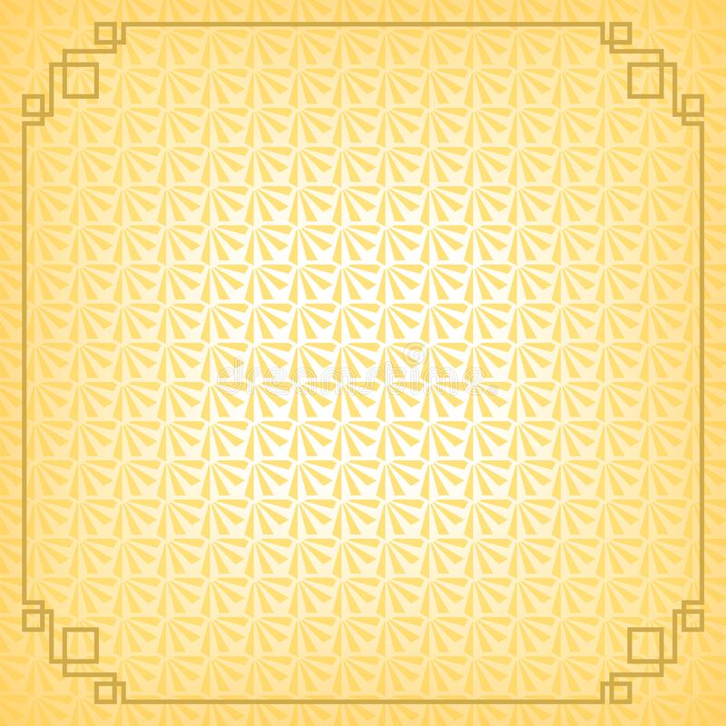 Yellow chinese little fan abstract background with gold border royalty free illustration