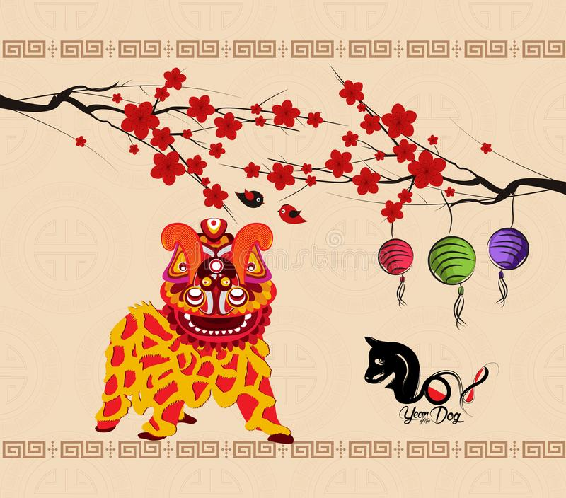 Chinese new year 2018 background lion dance.  royalty free illustration