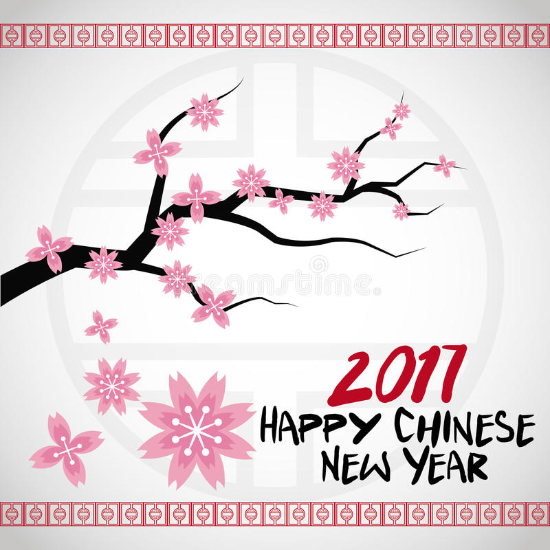 chinese new year 2017 card branches tree flower vector illustration