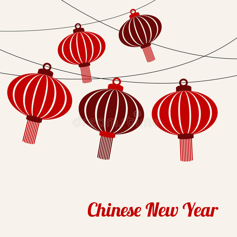 Chinese new year card with garlands of red lanterns, vecto royalty free illustration