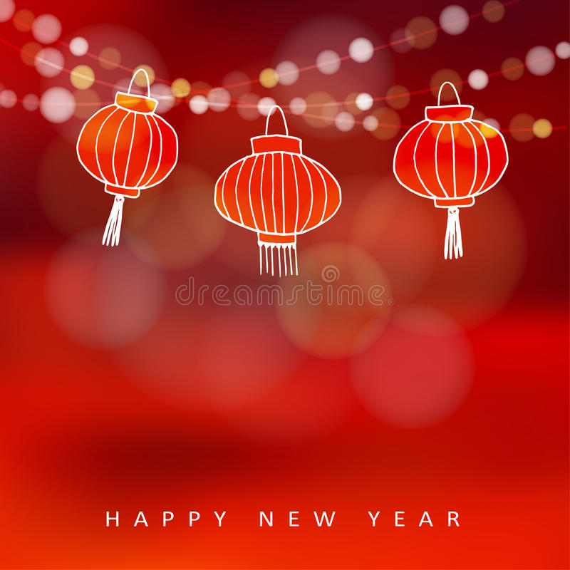 Chinese new year card with hand drawn paper lanterns and lights, stock illustration