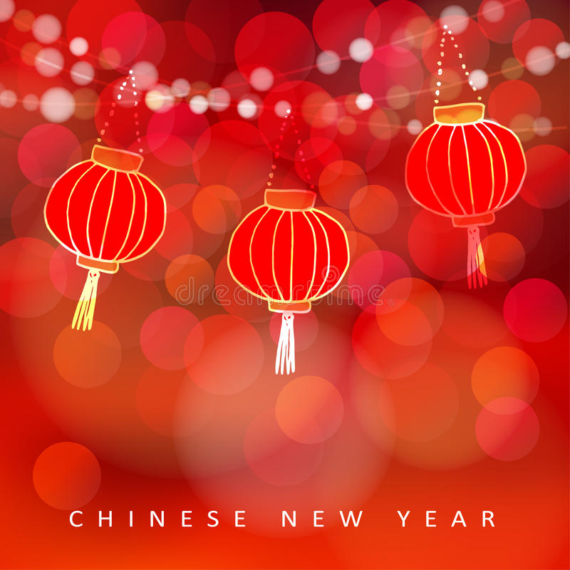Chinese new year card with paper lanterns and glittering lights. Party decoration. Modern vector illustration with red royalty free illustration