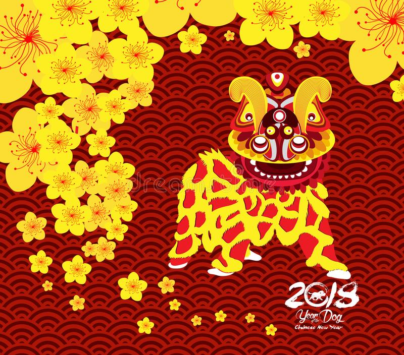 Chinese New Year card with plum blossom and lion dance in traditional chinese background.  royalty free illustration