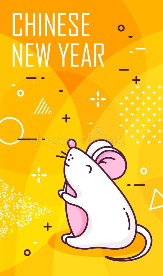 Free Chinese New Year Card With White Rat And Geometric Elements On Yellow Background. Thin Line Flat Design Royalty Free Stock Image - 163473256