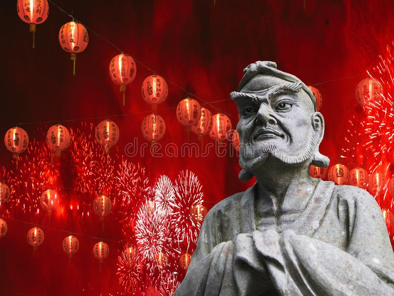 Chinese new year celebration concept chinese statue with lanterns and fireworks festival background stock photo