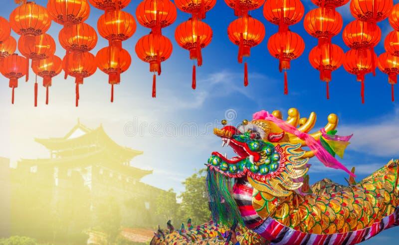 Chinese New Year Celebrations Around the World , Dragon with lanters. Chinese New Year Celebrations Around the World , Dragon with red lanters stock photography