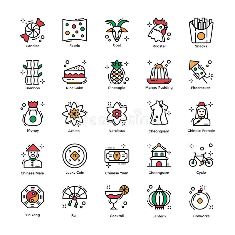 Chinese New Year Celebrations Flat Icons Pack royalty free illustration