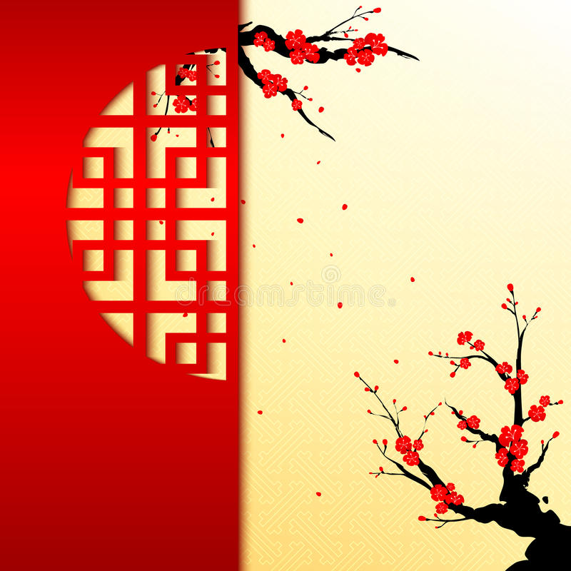 Free Chinese New Year Cherry Blossom Background Stock Photo - 35822820