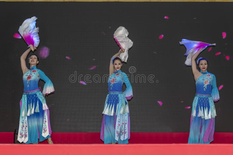 Chinese New Year 2019. Chinese show and stage performance by Art group from Henan Province China in the city hall premise celebrating the Chinese new year 2019 stock photography