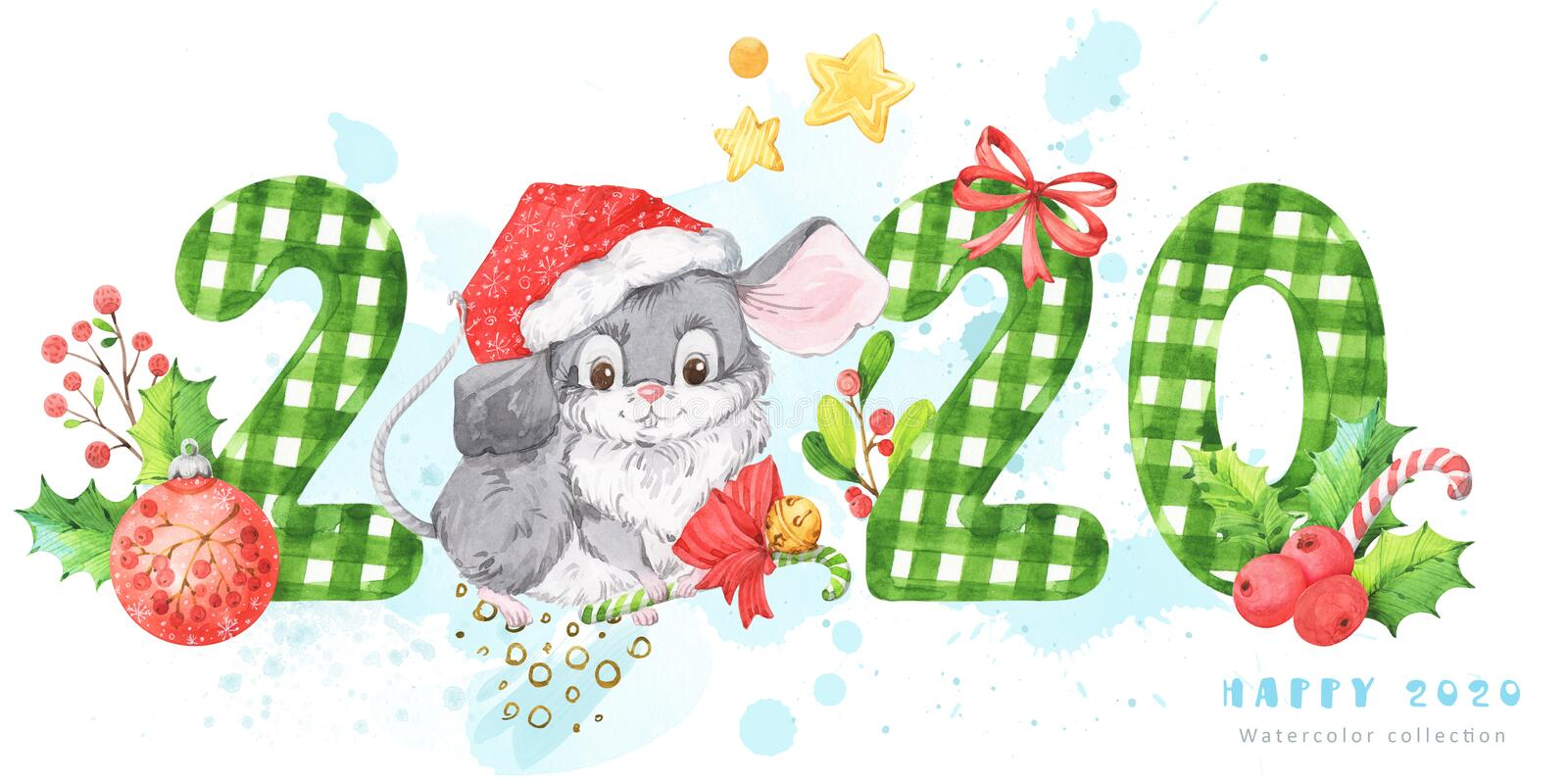 2020 New Year and Christmas banner with hand painted white and green patterned watercolor numbers and cute grey mouse, rat in a re royalty free illustration