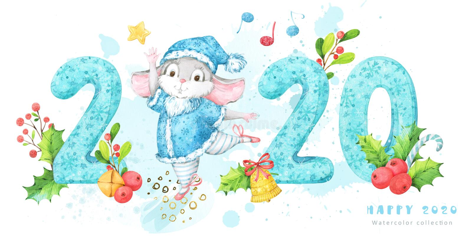 2020 New Year and Christmas banner with hand painted watercolor turquoise numbers with snowflakes pattern and a cute dancing mouse royalty free illustration