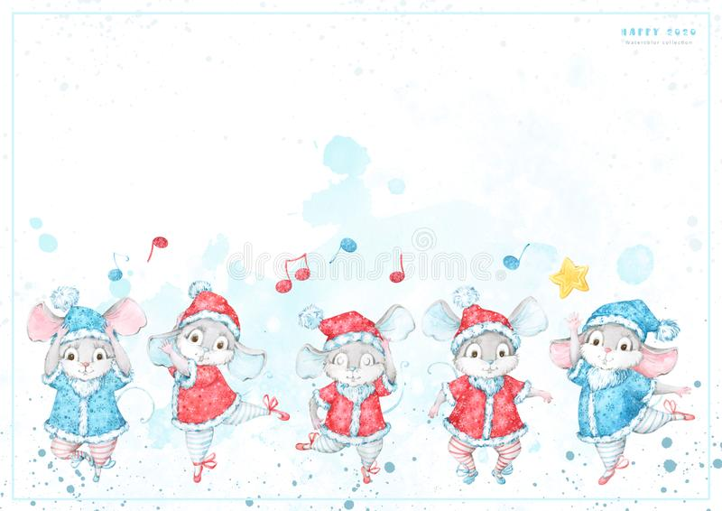 2020 New Year, Christmas greeting card with hand painted watercolor dancing ballet cartoon mice, rats in red and blue costumes wit royalty free illustration