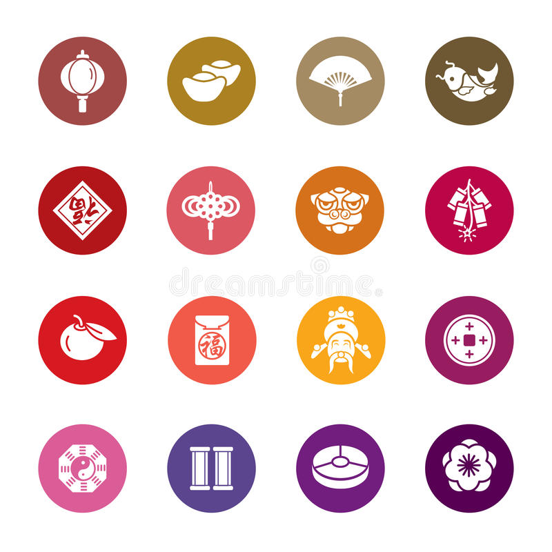 Chinese New Year Color Icons stock photos