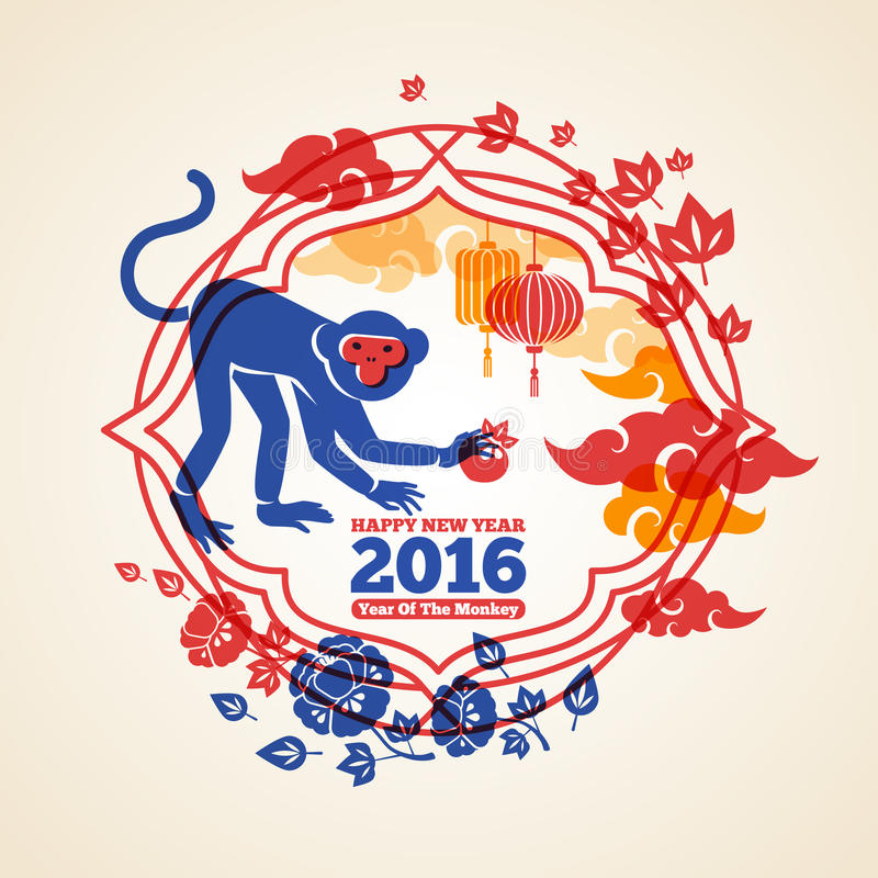 Chinese New Year Creative Concept with Monkey and vector illustration