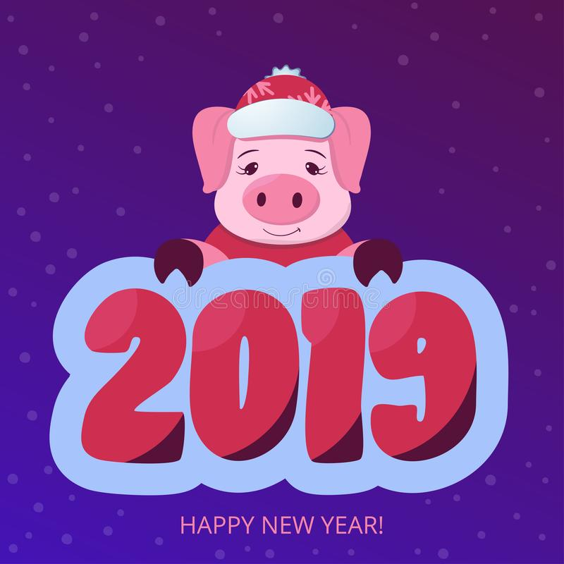 Chinese New year 2019. Cute pig on the violet gradient background. Horoscope. Christmas banner. Cartoon vector illustration. Print. Or sticker. Web poster royalty free illustration