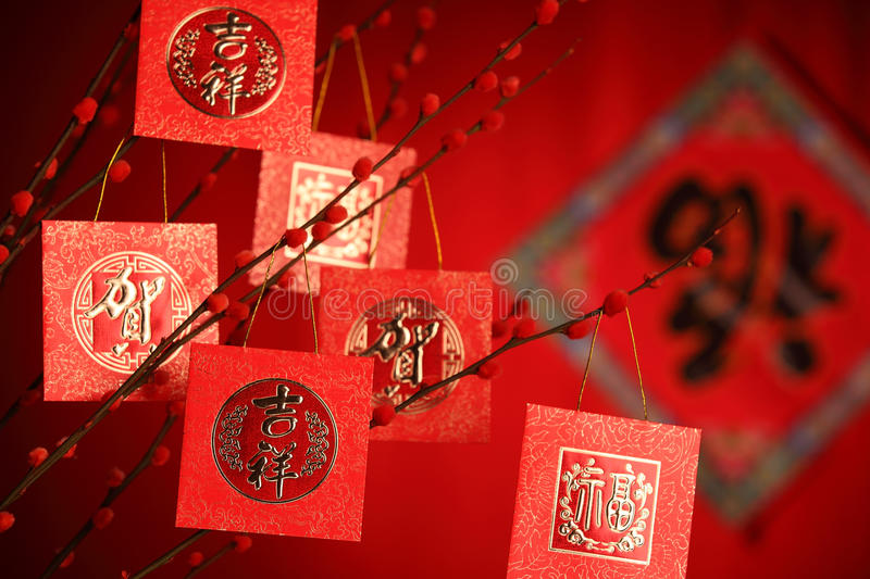 Chinese New Year Decoration. Red Packet on Plum Branch,Character on Packet Symbolizes Good Luck royalty free stock photo