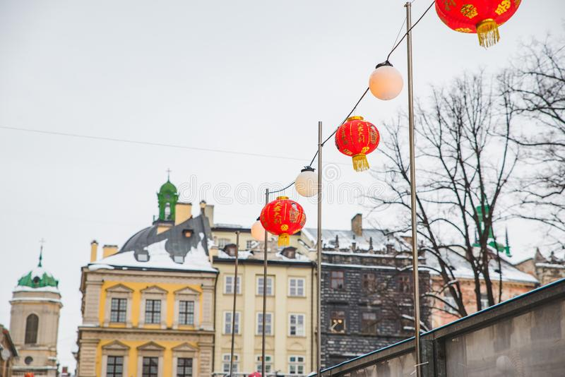 Chinese new year decoration lights at european city streets. Holidays concept royalty free stock image