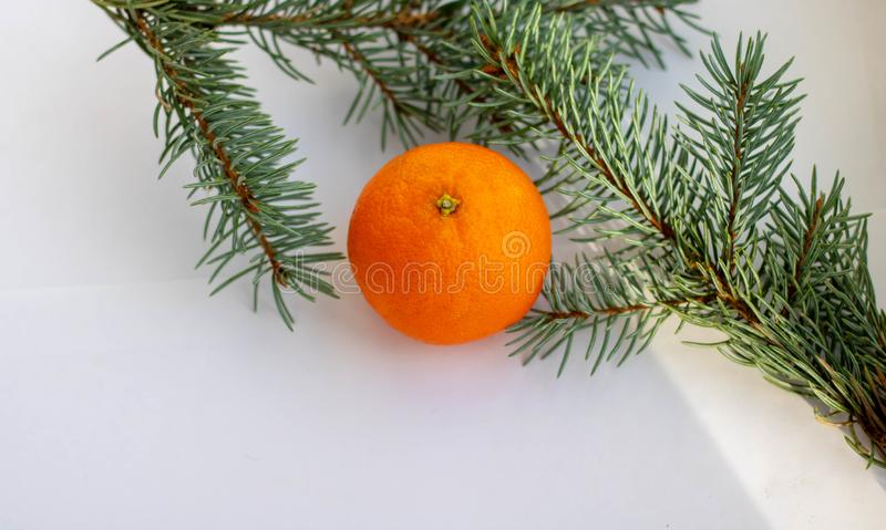 Chinese new year decoration, mandarine oranges in Chinese red bag on wooden table stock photos