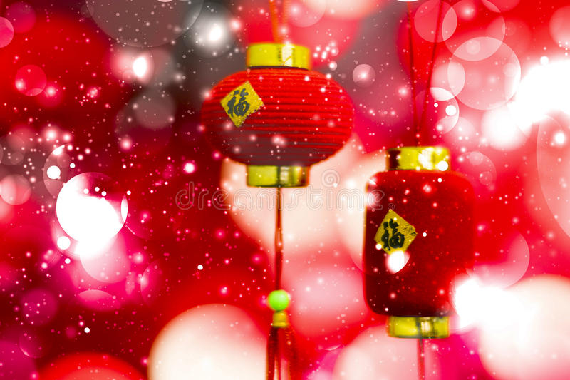 Chinese New Year decoration on a red background bokeh with chine royalty free stock photos