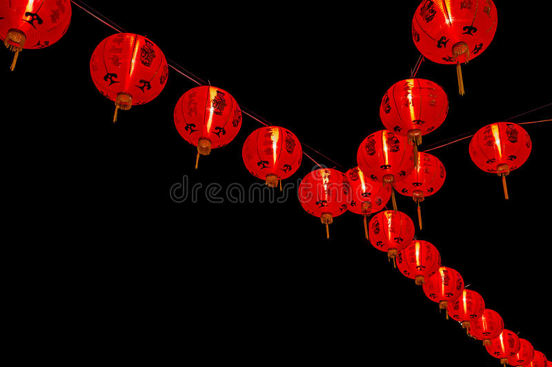 Chinese New Year Decoration--Red lanterns on glitter,bokeh stock images