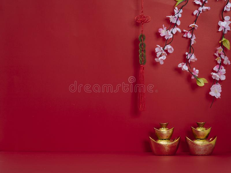 Chinese New Year decoration for spring festival. Chinese new year 2020 festival. Happy chinese new year or lunar new year. Flowers of good fortune and lump of stock photography