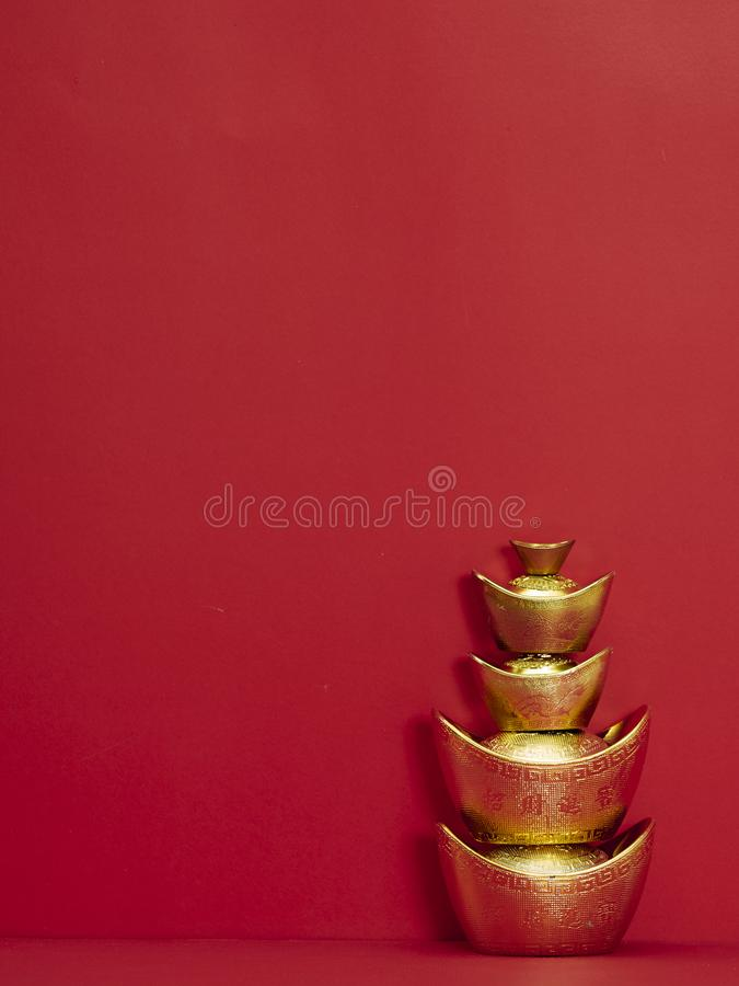 Chinese New Year decoration for spring festival. Chinese new year 2020. Happy chinese new year or lunar new year. Chinese gold ingot on red background ( royalty free stock photos