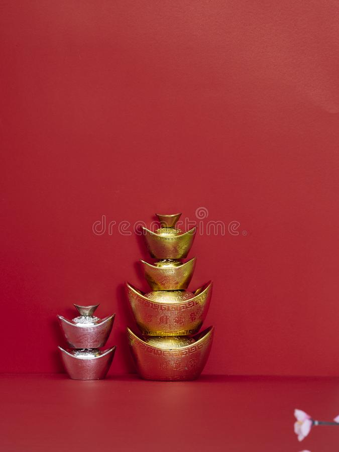 Chinese New Year decoration for spring festival. Chinese new year 2020. Happy chinese new year or lunar new year. Chinese gold ingot on red background ( royalty free stock images