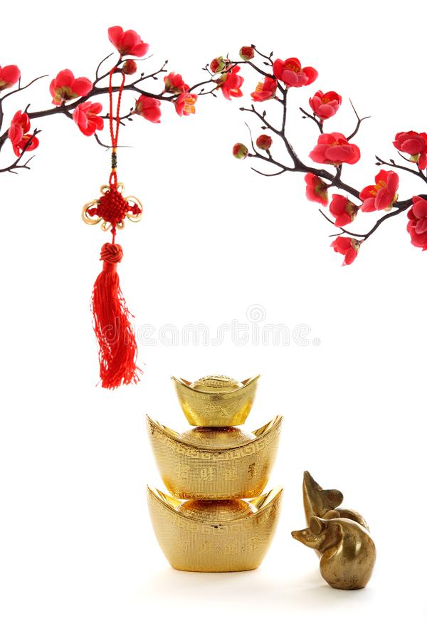 Chinese New Year decoration on white background royalty free stock photos
