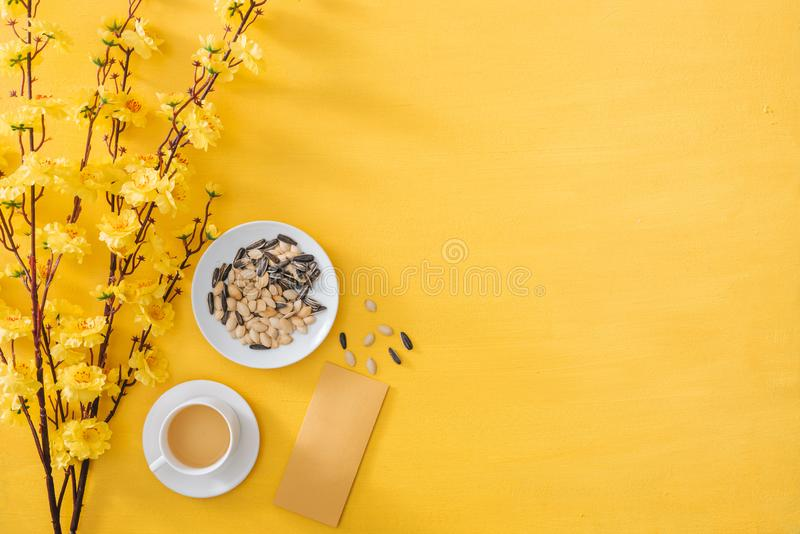 Chinese New Year decoration on a yellow gold background stock photos