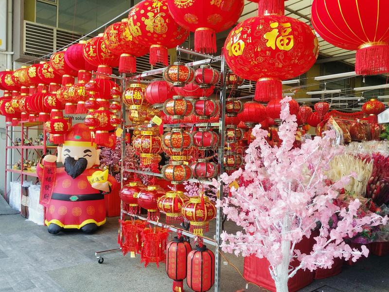 Chinese New Year decorations. Shop selling decoration for Chinese New Year royalty free stock images