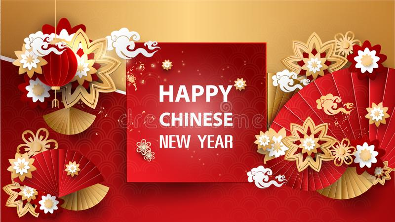 Chinese new year design with flowers in paper art style stock illustration