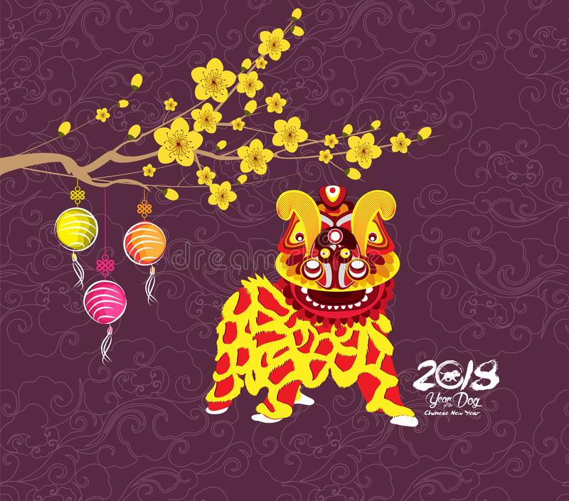 Chinese new year 2018. Year of the dog background with lion dance.  vector illustration