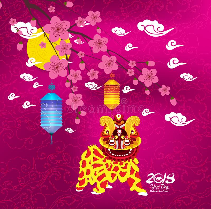 Chinese new year 2018. Year of the dog background with lion dance.  royalty free illustration