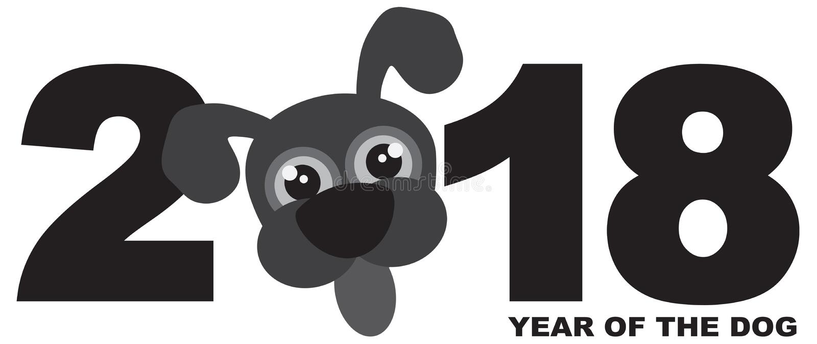Download 2018 Chinese New Year Dog Grayscale Vector Illustration Stock Vector - Illustration of grayscale, cute: 91341838