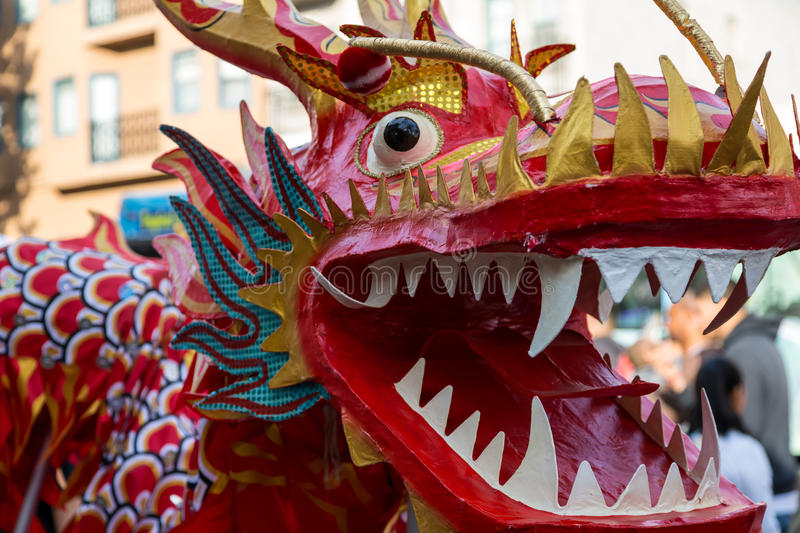Chinese New Year Dragon. A Chinese New Year dragon in celebration parade royalty free stock image