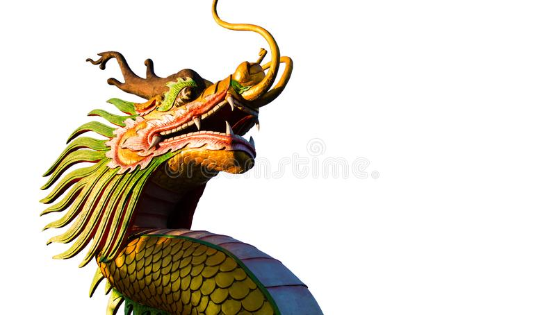 Chinese New Year Dragon Decoration on white background.Chinese sculpture designs.Dragon head. Happy New Year. Dragon Decoration on royalty free stock images