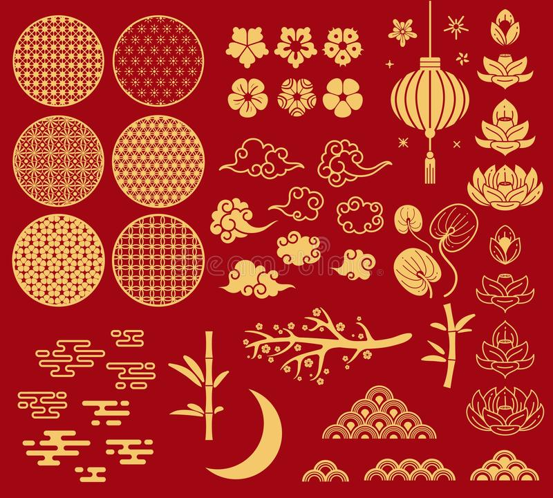 Chinese new year elements. Festive asian ornaments, patterns in oriental style. Clouds, moon and bamboo, sakura and royalty free illustration