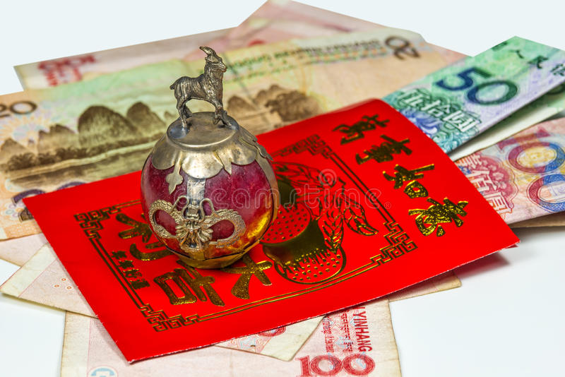 Chinese New Year envelope Lai Si with money stock images
