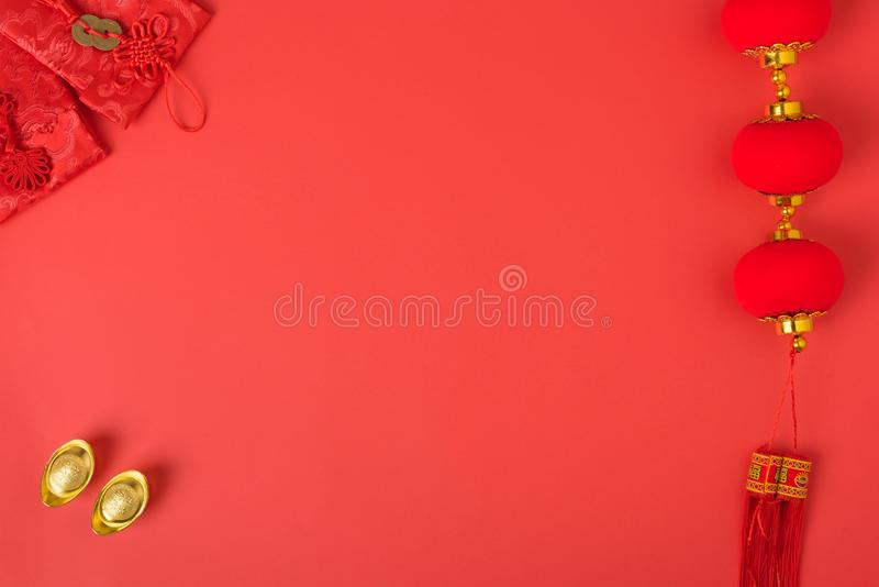 Chinese new year festival concept, flat lay top view, Happy Chinese new year with Red envelope and gold ingot stock photos